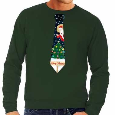 Goedkope foute kersttrui stropdas met kerst print groen voor heren