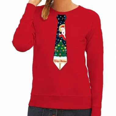 Goedkope foute kersttrui stropdas met kerst print rood voor dames