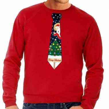 Goedkope foute kersttrui stropdas met kerst print rood voor heren