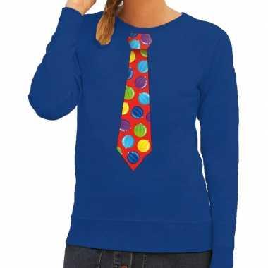 Goedkope foute kersttrui stropdas met kerstballen print blauw voor da