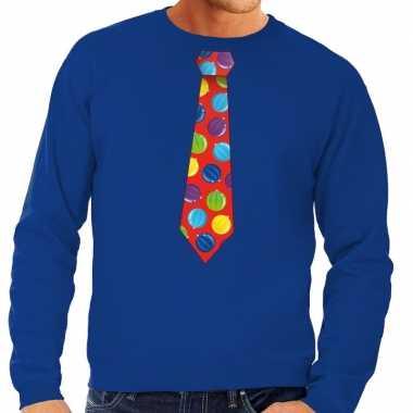 Goedkope foute kersttrui stropdas met kerstballen print blauw voor he