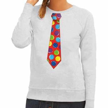 Goedkope foute kersttrui stropdas met kerstballen print grijs voor da