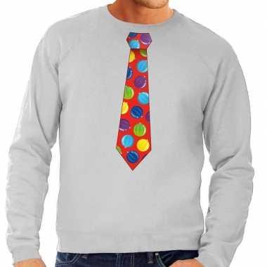 Goedkope foute kersttrui stropdas met kerstballen print grijs voor he