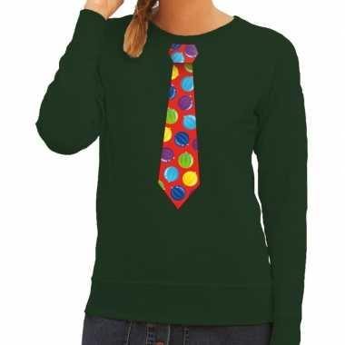 Goedkope foute kersttrui stropdas met kerstballen print groen voor da