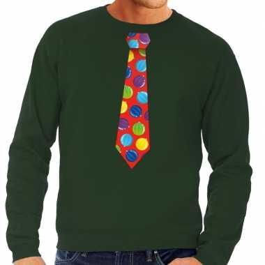 Goedkope foute kersttrui stropdas met kerstballen print groen voor he