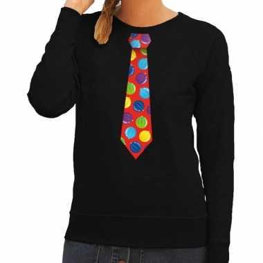 Goedkope foute kersttrui stropdas met kerstballen print zwart voor da