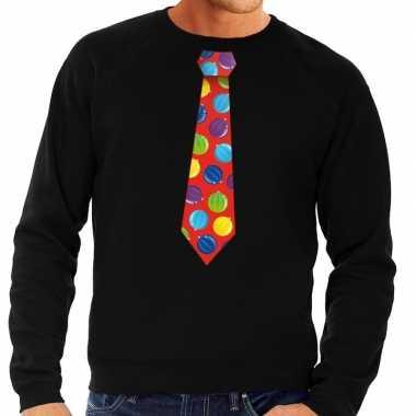 Goedkope foute kersttrui stropdas met kerstballen print zwart voor he