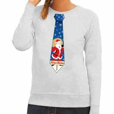 Goedkope foute kersttrui stropdas met kerstman print grijs voor dames
