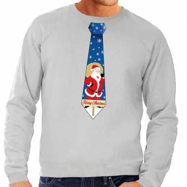 Goedkope foute kersttrui stropdas met kerstman print grijs voor heren