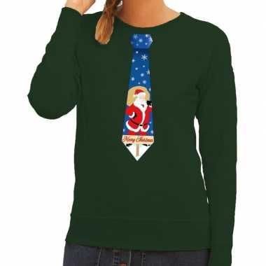 Goedkope foute kersttrui stropdas met kerstman print groen voor dames