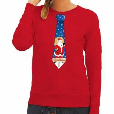 Goedkope foute kersttrui stropdas met kerstman print rood voor dames