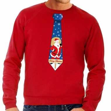 Goedkope foute kersttrui stropdas met kerstman print rood voor heren