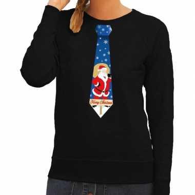 Goedkope foute kersttrui stropdas met kerstman print zwart voor dames