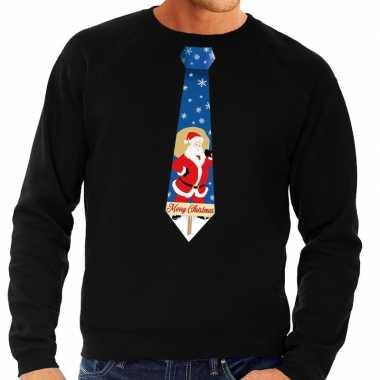 Goedkope foute kersttrui stropdas met kerstman print zwart voor heren