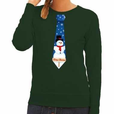 Goedkope foute kersttrui stropdas met sneeuwpop print groen voor dame