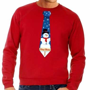 Goedkope foute kersttrui stropdas met sneeuwpop print rood voor heren