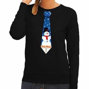Goedkope foute kersttrui stropdas met sneeuwpop print zwart voor dame