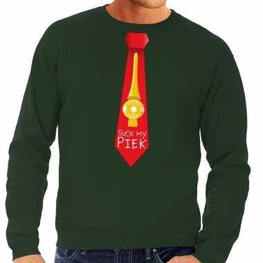 Goedkope foute kersttrui stropdas suck my piek groen voor heren