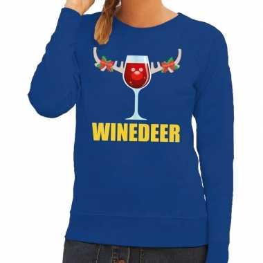 Goedkope foute kersttrui winedeer blauw voor dames