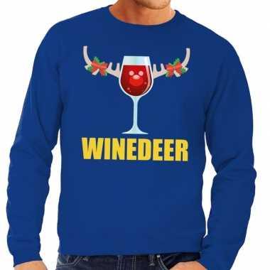 Goedkope foute kersttrui winedeer blauw voor heren