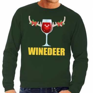 Goedkope foute kersttrui winedeer groen voor heren