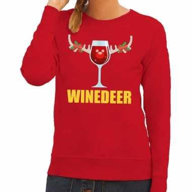 Goedkope foute kersttrui winedeer rood voor dames