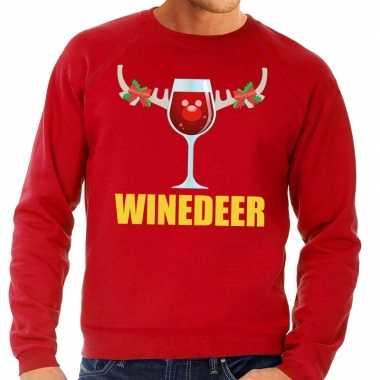 Goedkope foute kersttrui winedeer rood voor heren