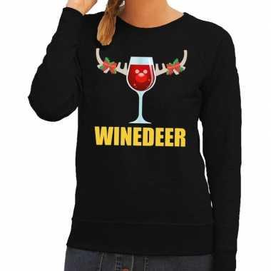 Goedkope foute kersttrui winedeer zwart voor dames