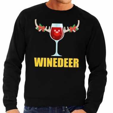 Goedkope foute kersttrui winedeer zwart voor heren