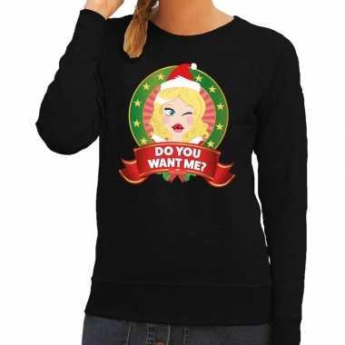 Goedkope foute kersttrui zwart do you want me voor dames