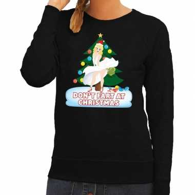 Goedkope foute kersttrui zwart dont fart at christmas voor dames