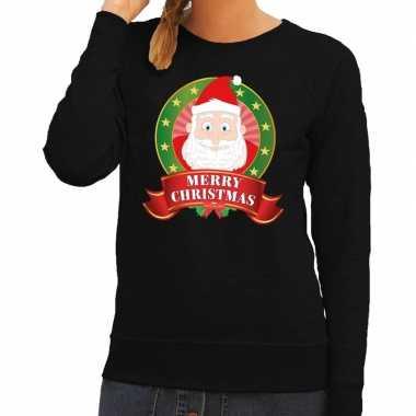 Goedkope foute kersttrui zwart kerstman merry christmas voor dames