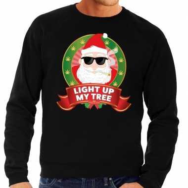 Goedkope foute kersttrui zwart light up my tree voor heren
