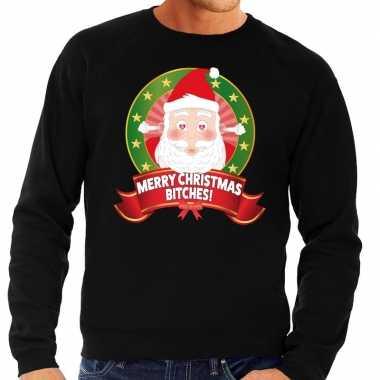 Goedkope foute kersttrui zwart merry christmas bitches voor heren