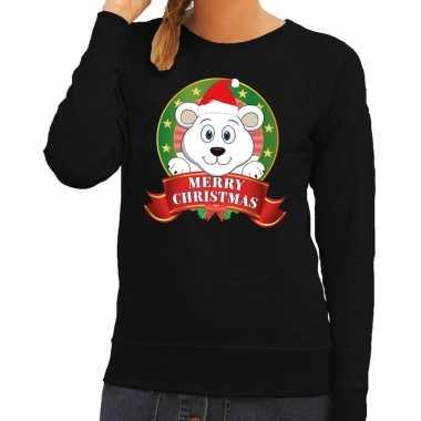 Goedkope foute kersttrui zwart merry christmas ijsbeer voor dames