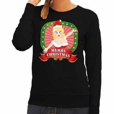 Goedkope foute kersttrui zwart merry christmas kerstvrouw voor dames