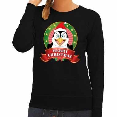 Goedkope foute kersttrui zwart merry christmas pinguin voor dames