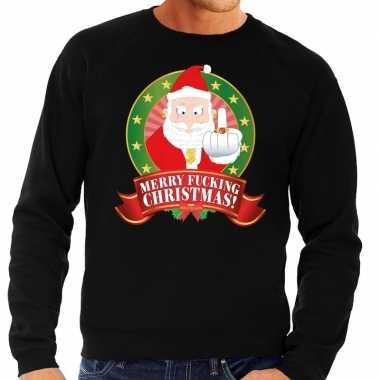 Goedkope foute kersttrui zwart merry fucking christmas voor heren