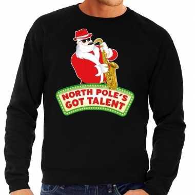Goedkope foute kersttrui zwart north poles got talent voor heren