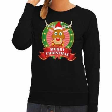 Goedkope foute kersttrui zwart rudolph merry christmas voor dames