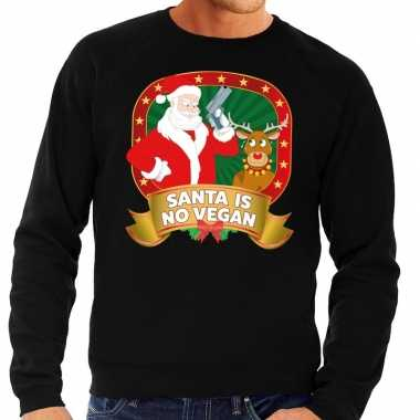 Goedkope foute kersttrui zwart santa is no vegan voor heren