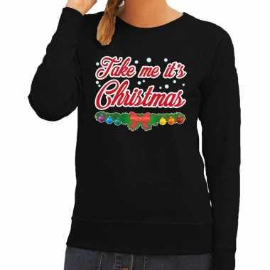 Goedkope foute kersttrui zwart take me its christmas voor dames