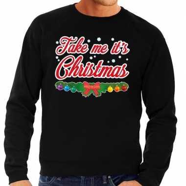 Goedkope foute kersttrui zwart take me its christmas voor heren