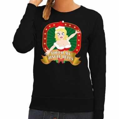 Goedkope foute kersttrui zwart touch my jingle bells voor dames