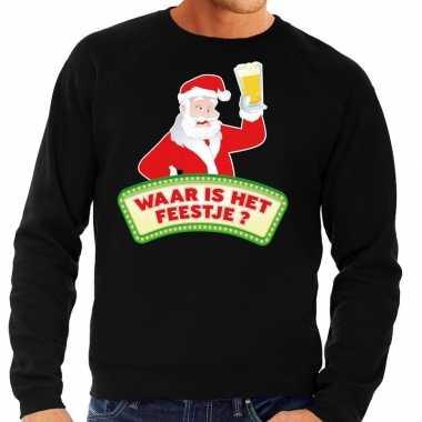 Goedkope foute kersttrui zwart waar is het feestje voor heren