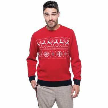 Goedkope foute rode kersttruien scandinavische print voor heren
