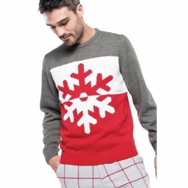 Goedkope foute rood/grijze kersttruien sneeuwvlok print voor heren