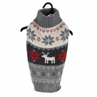 Goedkope grijze gebreide foute kersttrui met sneeuwvlokken en rendieren voor huisdieren