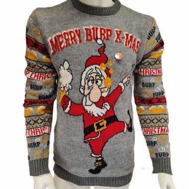 Goedkope grijze heren kersttrui merry burp x mas met lichtjes/lampjes