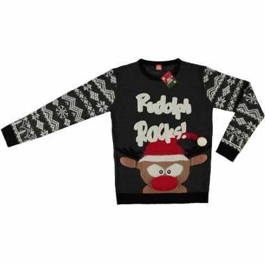 Goedkope grijze kerstmis trui coole rendier voor volwassenen